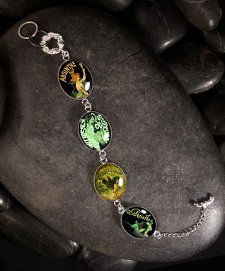Custom Made Absinthe Green Fairy Silver Charm Bracelet Socb-16