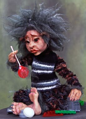 "Custom Made Ooak Art Doll ""Dusty The Under-Bed Monster"""