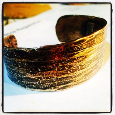 Custom Made Hand Forged Wood Grain Bronze Cuff Mens Or Womens