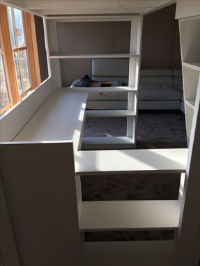 Custom Made Kids Loaded Loft Bed With Desk, Bookcases, Drawer & Corkboard
