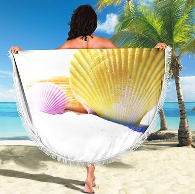 Custom Made Summer Beach Towel Vacation Pool Beach Blanket Shell Theme Towel