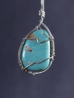 Custom Made Turquoise Pendant In Sterling Silver Wire