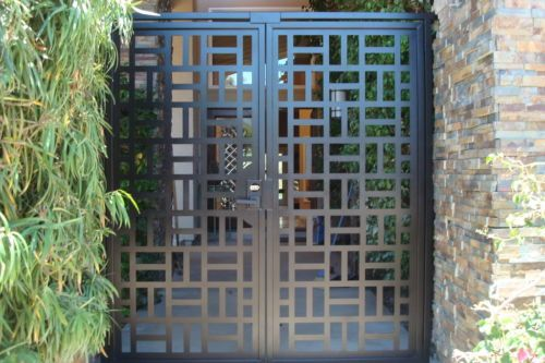 buy a handmade contemporary metal dual entry gate modern pedestrian