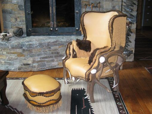 Custom Made Leather Chair And Ottoman