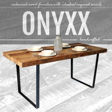 Custom Made Salvaged Plank Table, Reclaimed Wood & Steel