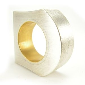 Custom Made Large Reversible Hand Fabricated Silver And 24k Gold Ring