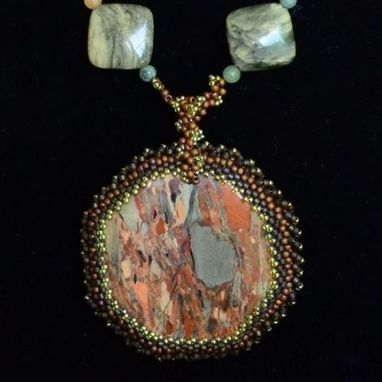 Custom Made Beaded Green And Rust Mt. Creek Gemstone Pendant And Necklace