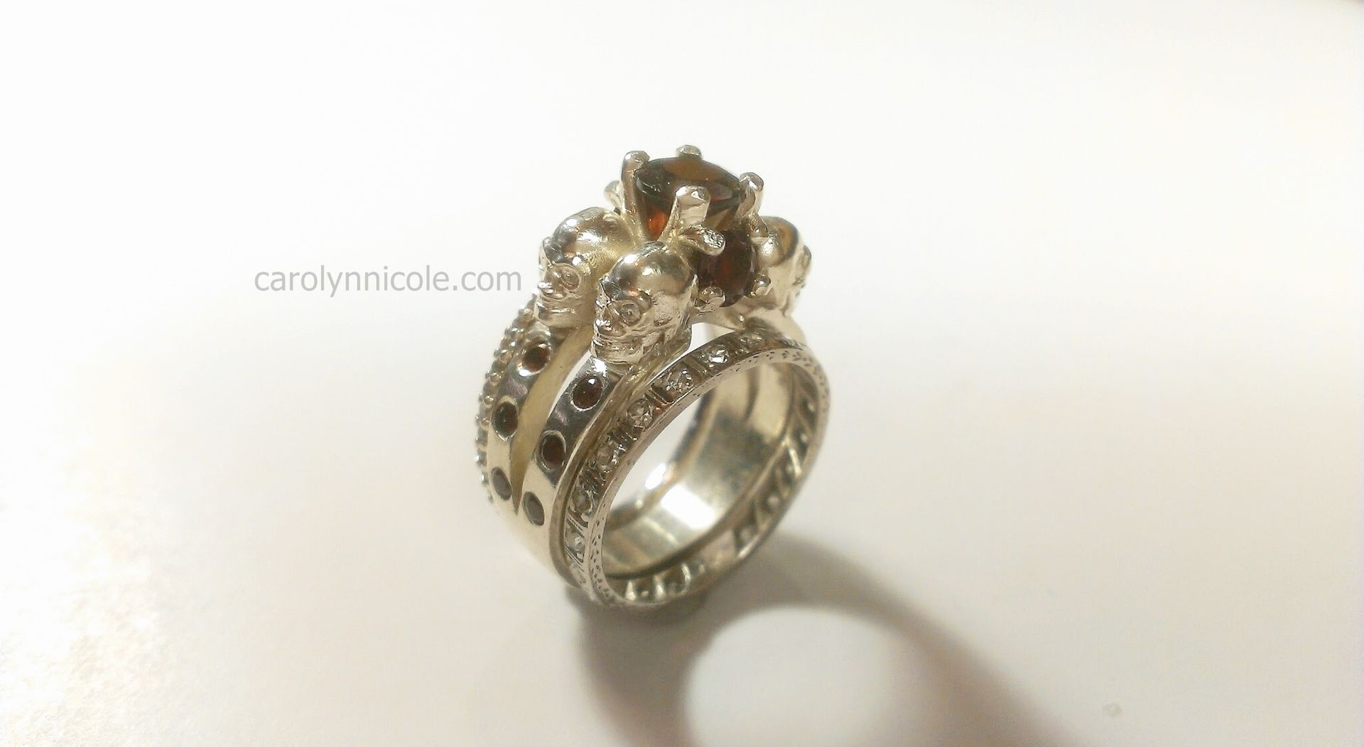 Hand Crafted Skull Engagement Ring by Carolyn Nicole Designs