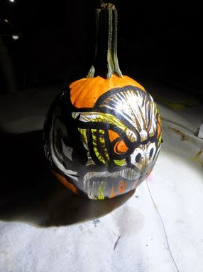 Custom Made Street Art Halloween Hand Painted Pumpkin Gargoyle