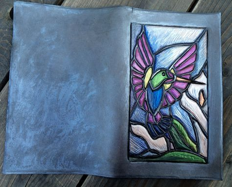 Custom Made Stained Glass On Leather Hummingbird Clutch Style Wallet