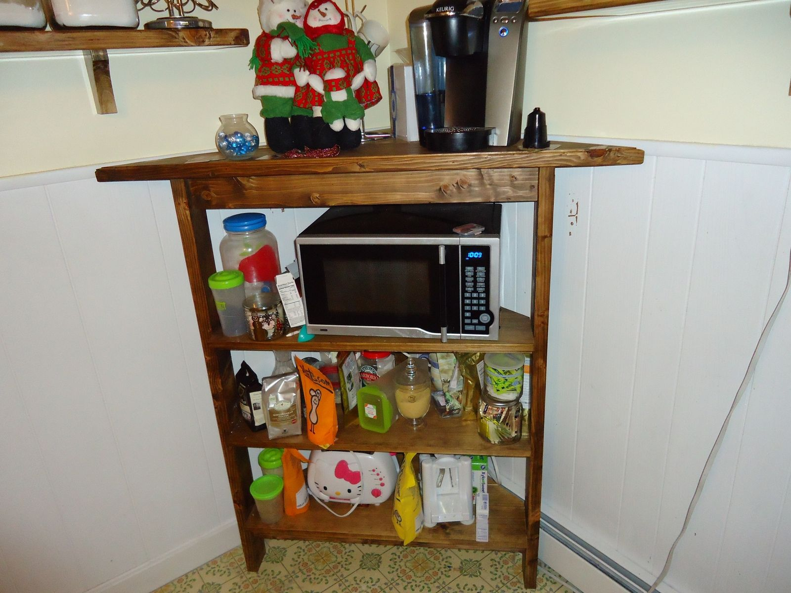 custom made rustic kitchen corner shelf and microwave stand - Kitchen Corner Shelf