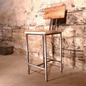 Modern Style Bar Stools With Back Rest Made From Reclaimed Wood And Metal