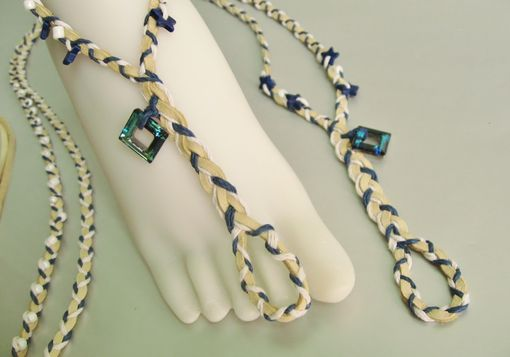 Custom Made Barefoot Sandals.Toe Thongs. Boho. Dancer Jewerly. Made In Maui.