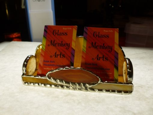 Custom Made Amber Brown Stained Glass Business Card Holder With Agate