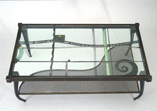 Custom Made Coffee Table :: Contemporary Metal And Glass Rectangle - Eclectic Sculptural Furniture, Accent Tables For Living Room