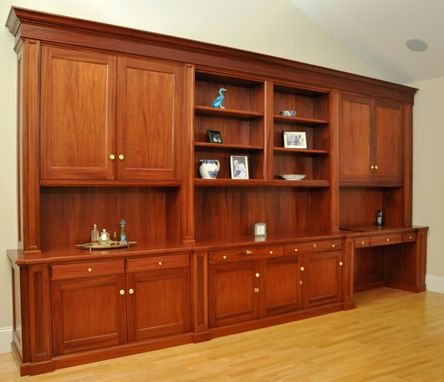 Custom Made Traditional Mahogany Wall Unit /Home Office Desk
