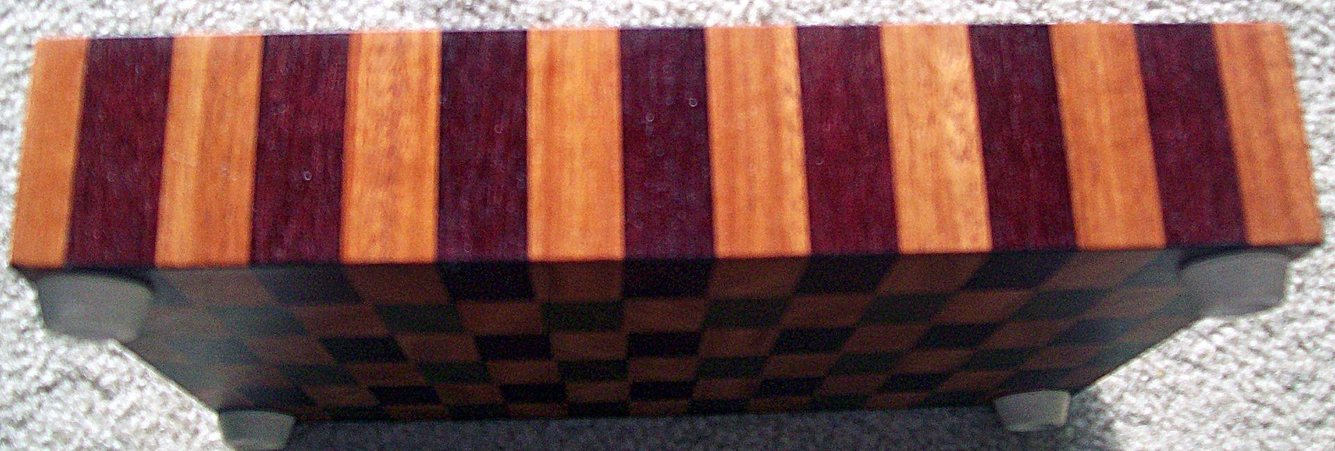 Handmade Mahogany Walnut Purple Heart End Grain Board By Jlb Woodworking Amp Carpentry
