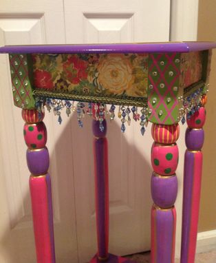 Custom Made Custom Hand Painted Accent Side Table Harlequin