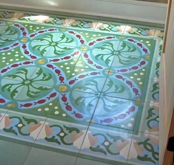 Custom Made Cuban Tile Style Floor Tile With Border
