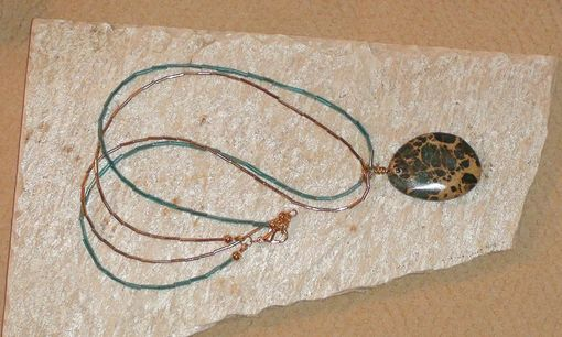 "Custom Made Aqua Terra Jasper Pendant With Liquid Gold And Turquoise Bugle Bead ""Chain"""