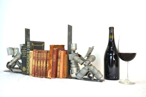 Custom Made Wine Bot - Relaxing With A Good Book - Barrel Ring Bookends