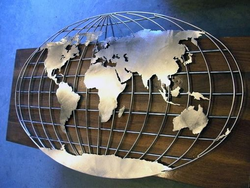 Custom Made Stainless Steel Mural Map Of The World