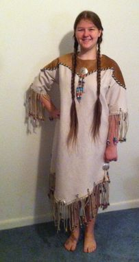 Custom Made American Native Dress/ Genuine Leather Trim