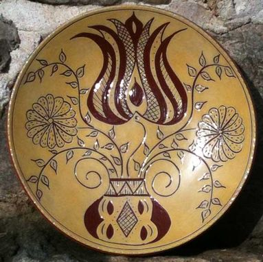 Custom Made Ceramic Plate With Flowers In An Urn