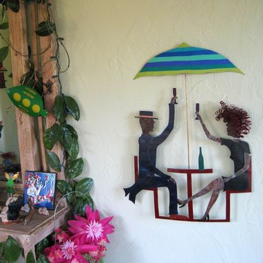 Custom Made Handmade Upcycled Metal Couple In Outdoor Cafe Wall Art Sculpture