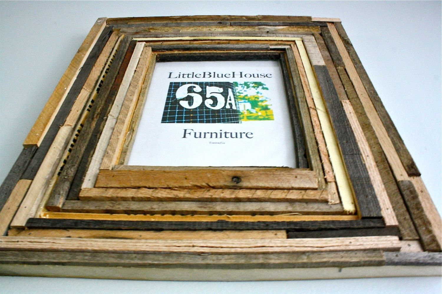 custom made multiple layered wood 8x10 frame made from recycled barn wood and pallet wood