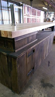 Custom Made Butcher Block Bar With Kegerator Storage