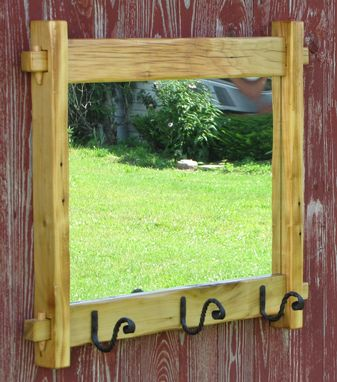 Custom Made Handcrafted Mortise & Tenon Mirror With Hand Forged Hooks