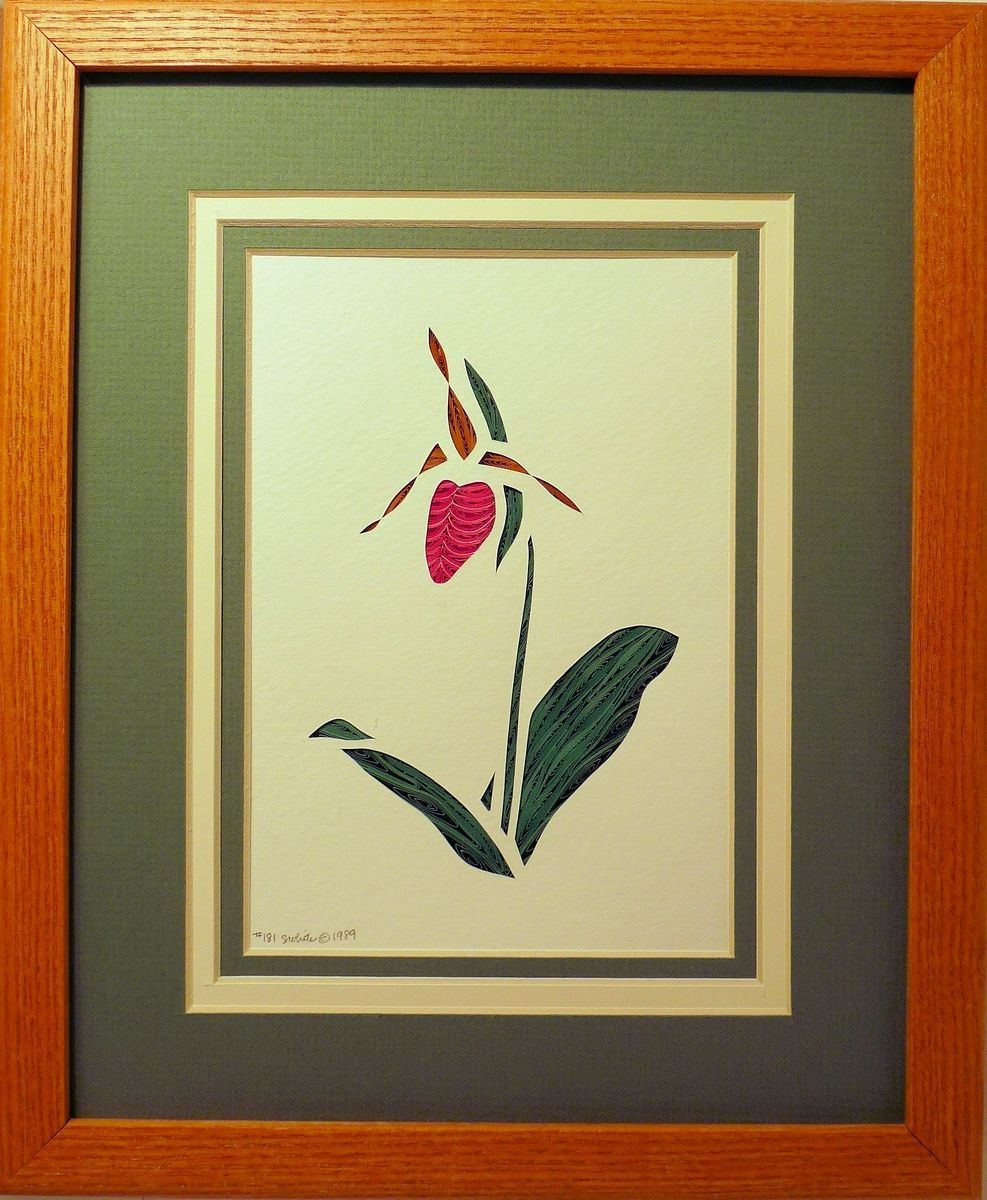 Buy Hand Made Wildflowers - Pink Lady\'s Slipper Quilled Framed Wall ...