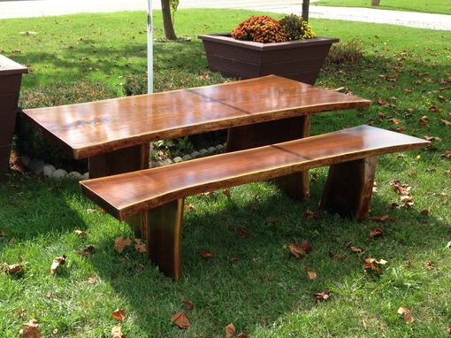 Custom Made Live Edge Dark Walnut Table And Bench With Adjustable Feet