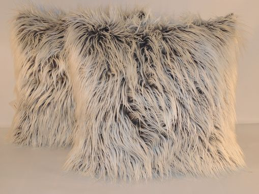 Custom Made Mongolian Grey Frost Faux Fur 18 X 18 In. Decorative Pillow - Set Of 2