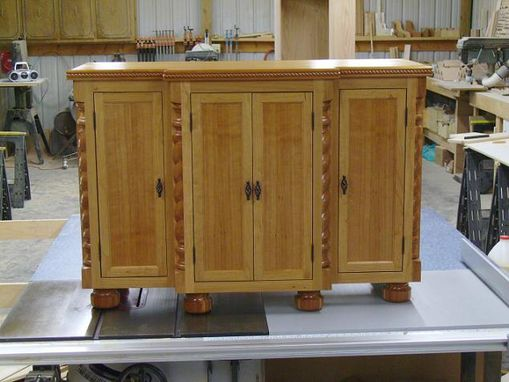 Custom Made Cherry Cabinet With Rope Accents