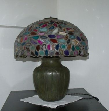 Custom Made Cast Bronze Table Lamp With Geode Slice Shade