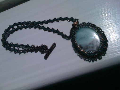 Custom Made Amazonite Stone Beaded Pendant And Necklace