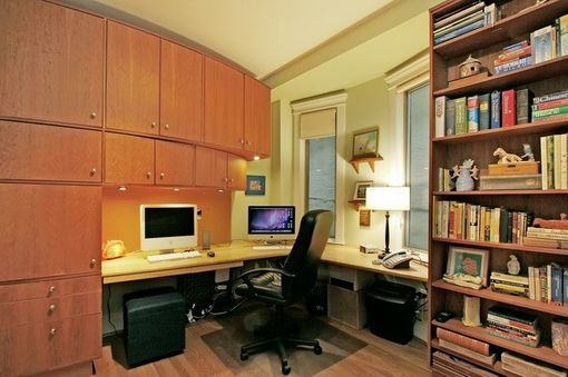 Custom Made Curved Cherry Home Office, Library, And Murphy Bed