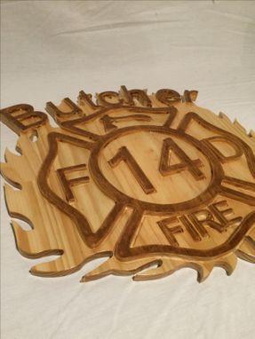 Buy A Custom Fire Man S Maltese Cross Wood Carved Art