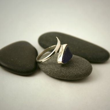 Custom Made Cobalt Blue Sea Glass And Sterling Ring