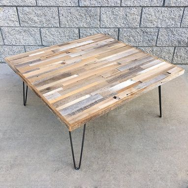 Custom Made Reclaimed Wood And Hair Pin Leg Minimalist Coffee Table