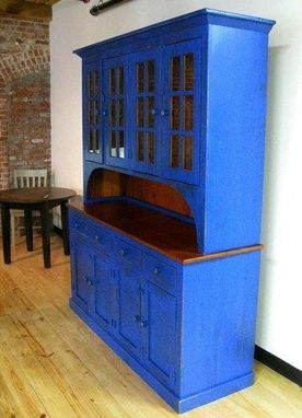 Custom Made Large Custom Rustic Blue Barn Wood Hutch