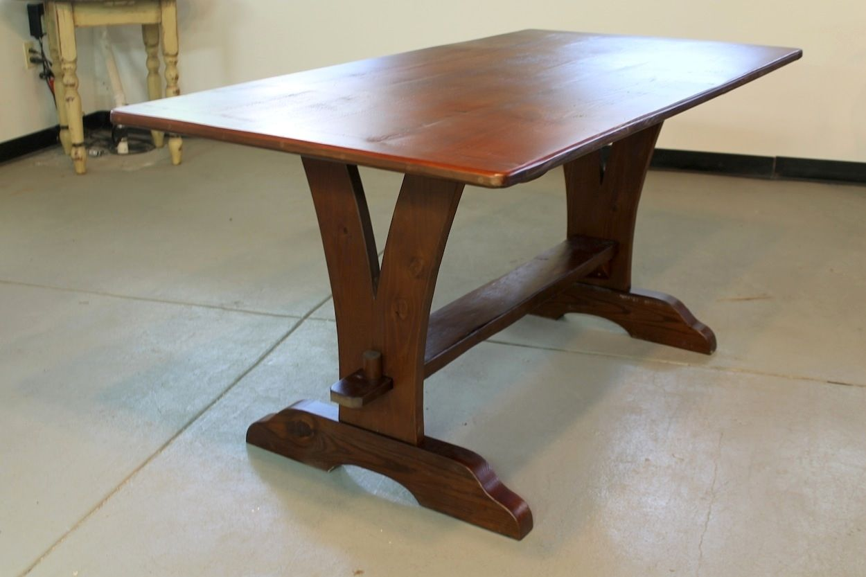 Custom Made Vermont V Trestle Base Farmhouse Table By