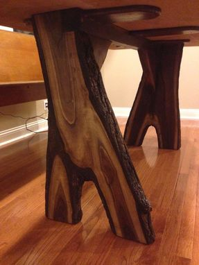 Custom Made Live Edge Counter Height Red Elm Table With Inverted-Branch Legs