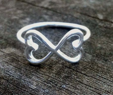 Custom Made Infinity Ring With Double Heart Design