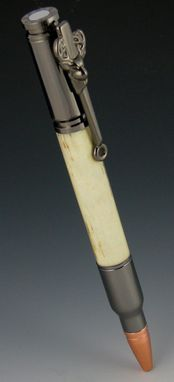 Custom Made 30 Cal Bullet Click And Twist Pens, Real 'No Catch 'Em' Deer Antler Body