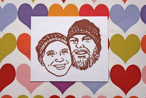 Custom Made Hand Carved Custom Couple Portrait Stamp -Wedding Stationery, Invitations, Thank You Cards-