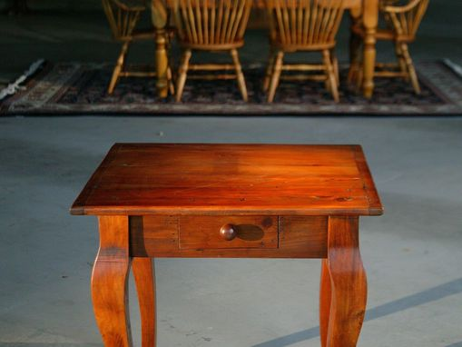Custom Made Square End Table With Drawers And Brown Cherry Finish