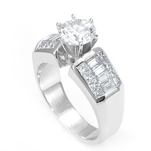 Custom Made Baguette And Princess Cut Diamond Engagement Ring In 14k White Gold, Proposal Ring, Ladies Ring